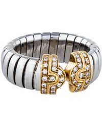 bvlgari tubogas parentesi diamond cuff ring yellow lyst
