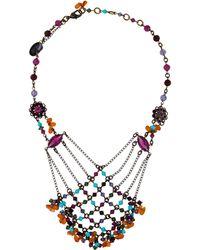 Erickson Beamon - Multistrand Beaded Collar Necklace Brass - Lyst