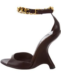 Tom Ford - Leather Chain-link Wedges W/ Tags Brown - Lyst
