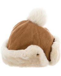 UGG - Shearling-trimmed Suede Hat Tan - Lyst