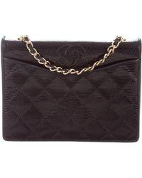 18539baf73769b Lyst - Chanel Cc Glint Flap Crossbody Bag Black in Metallic