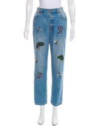MUVEIL - Embroidered High-rise Jeans Denim - Lyst