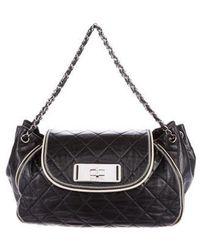 Lyst - Chanel Mademoiselle Accordion Bag Black in Metallic 4af595fc6d7fc