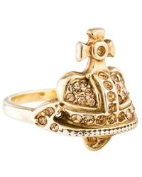 Vivienne Westwood - Crystal Heart Orb Ring Gold - Lyst