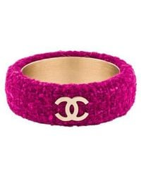 Chanel - Cc Tweed Bracelet Gold - Lyst