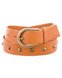 Miu Miu - Miu Studded Leather Belt Gold - Lyst