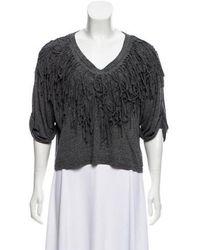 Nicholas K - Fringe-accented Knit Top Grey - Lyst