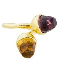 Kara Ross - 18k Citrine & Amethyst Bypass Ring Yellow - Lyst