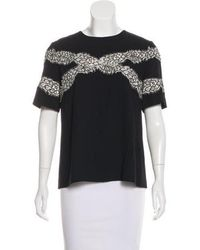 Wes Gordon - Lace-accented Short Sleeve Top - Lyst