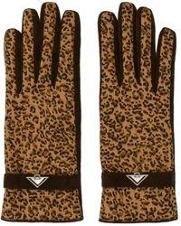 Bottega Veneta - Leopard Printed Logo Gloves Brown - Lyst