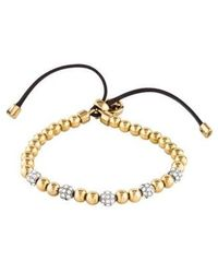 Michael Kors - Pavé Crystal & Leather Beaded Bracelet Gold - Lyst