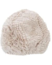 Glamourpuss - Knitted Fur Beanie W/ Tags Neutrals - Lyst