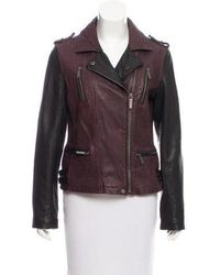 MICHAEL Michael Kors - Michael Kors Leather Moto Jacket Plum - Lyst