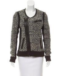 Rag & Bone - Leather-trimmed Knit Jacket Grey - Lyst