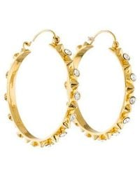 Tom Binns - Studded Crystal Hoop Earrings Gold - Lyst