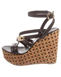 a058c5a917d5 Lyst - Tory Burch Ankle Strap Espadrille Wedges Beige in Metallic