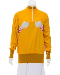 Yohji Yamamoto - Rib Knit Trimmed Pull-over Sweatshirt Yellow - Lyst