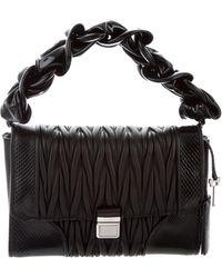 Miu Miu - Miu Snakeskin-trimmed Nappa Patch Bag Black - Lyst