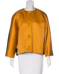 Jonathan Saunders - Satin-paneled Button-up Jacket Orange - Lyst