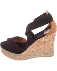 d0cc93d86aba Tory Burch - Crossover Espadrille Wedges Black - Lyst