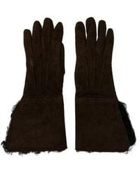 CoSTUME NATIONAL - Suede Shearling Gloves - Lyst
