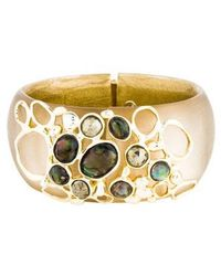Alexis Bittar - Hematite, Crystal & Abalone Doublet Hinged Bangle Gold - Lyst