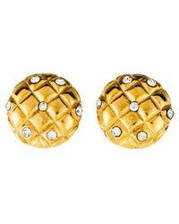 Chanel - Crystal Matelassé Clip-on Earrings Gold - Lyst