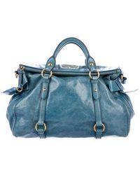 195eba2156824 Recently sold out. Miu Miu - Miu Vitello Lux Bow Satchel Blue - Lyst