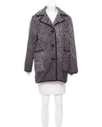 Love Moschino - Patterned Short Coat Grey - Lyst