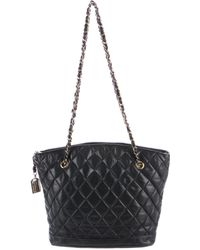 Chanel - Vintage Quilted Lambskin Tote Navy - Lyst