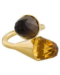 Kara Ross - 18k Citrine & Smoky Quartz Medium Clasp Ring Yellow - Lyst