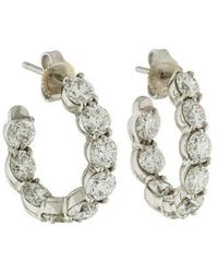Tiffany & Co. - Platinum Diamond Inside-out Hoop Earrings White - Lyst