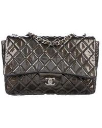 3cd30495e609b3 Lyst - Chanel Ultra Stitch Jumbo Flap Bag Red in Metallic