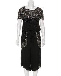 SUNO - Sequin Short Sleeve Jumpsuit Black - Lyst