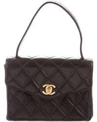 de88e2b0498d Chanel - Vintage Lambskin Top Handle Bag Black - Lyst
