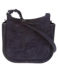 The Row - Suede Hunting 9 Bag Navy - Lyst