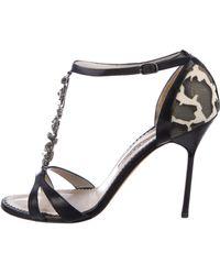Manolo Blahnik - Stingray-trimmed Embellished Sandals Black - Lyst