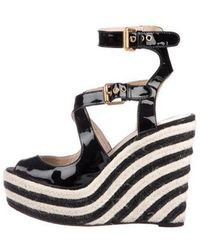 Brian Atwood - Patent Leather Platform Wedges - Lyst