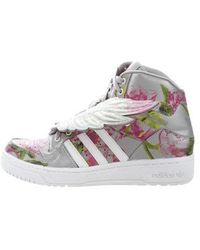 a10fb7a267ed Lyst - Jeremy Scott For Adidas High-Top Leather Wing Sneakers in Orange