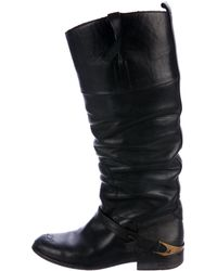Golden Goose Deluxe Brand - Distressed Leather Knee-high Boots Black - Lyst