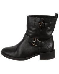 4a77e9bf5523d3 Tory Burch - Leather Round-toe Ankle Boots Black - Lyst