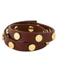 Tory Burch - Double Wrap Logo Stud Bracelet Gold - Lyst