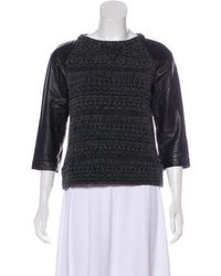 Gryphon - Knit Leather-accented Sweater Black - Lyst