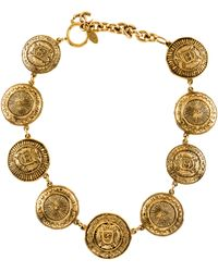 Chanel - Medallion Link Necklace Gold - Lyst