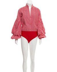 Johanna Ortiz - Jucarilla Balloon-sleeve Cotton-gingham Bodysuit - Lyst