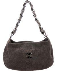 Chanel - Suede Camellia Shoulder Bag Grey - Lyst