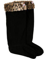 HUNTER - Fleece Cheetah Print Socks - Lyst