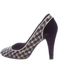 Chanel - Tweed Rounded-toe Pumps Black - Lyst