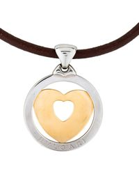 bvlgari twotone heart pendant w extra leather cord yellow lyst