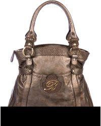 Blumarine - Snakeskin-trimmed Handle Bag Bronze - Lyst
